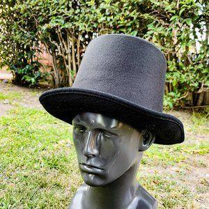 Classic Black Felt Top Hat /  DIY